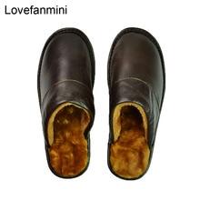 Pantoufles en cuir de vache véritable pour couple dintérieur, antidérapantes, semelles souples en PVC, chaussures de loisir à la mode, pour la maison, hiver, 618