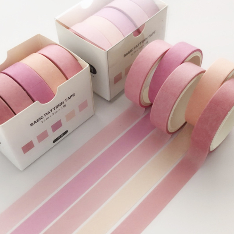 5 Pcs/Set Cute Solid Pink Bullet Journal Washi Tape Scrapbooking DIY Adhesive Tape Sticker Label Masking Tapes Washitape