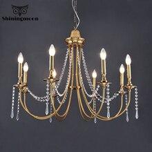 цена Modern Led Chandeliers Lighting Crystal Ceiling Chandelier for Hotel Kitchen Hanging Lamp Retro Gold Loft Lustre Indoor Lighting онлайн в 2017 году