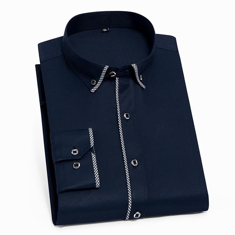 Camisa de manga comprida para homens primavera outono casual nova borda xadrez fácil cuidado formal negócios botão acima da camisa branca