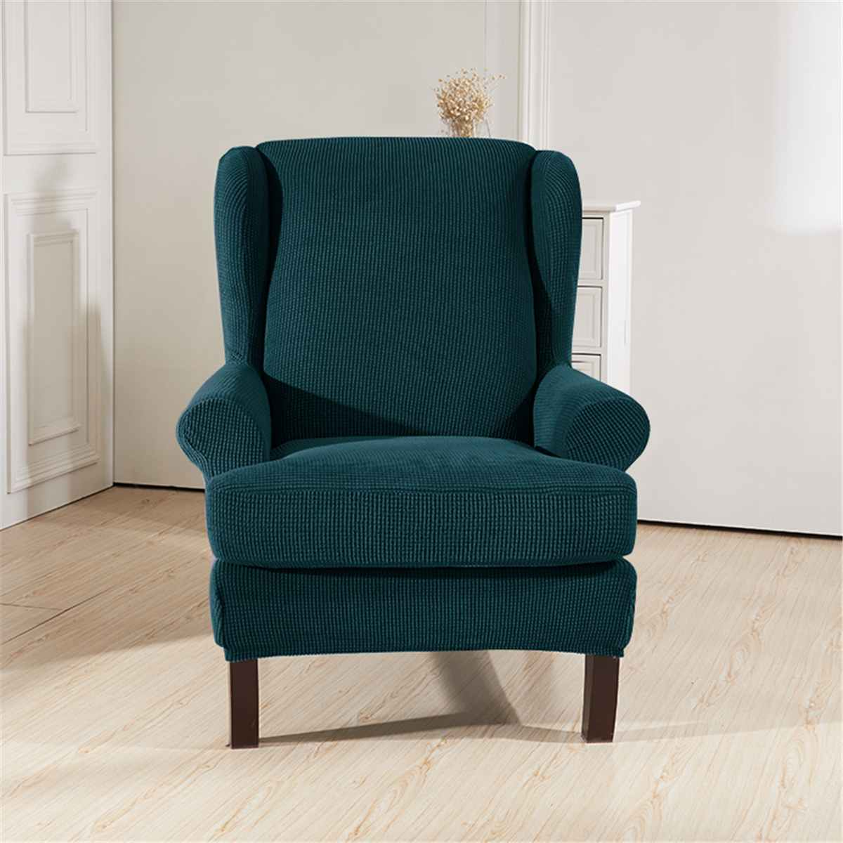 Elastic Armchair Wingback Wing Sofa Back Chair Cover Sloping Arm King Back Chair Cover Stretch Protector Slip Cover Protector