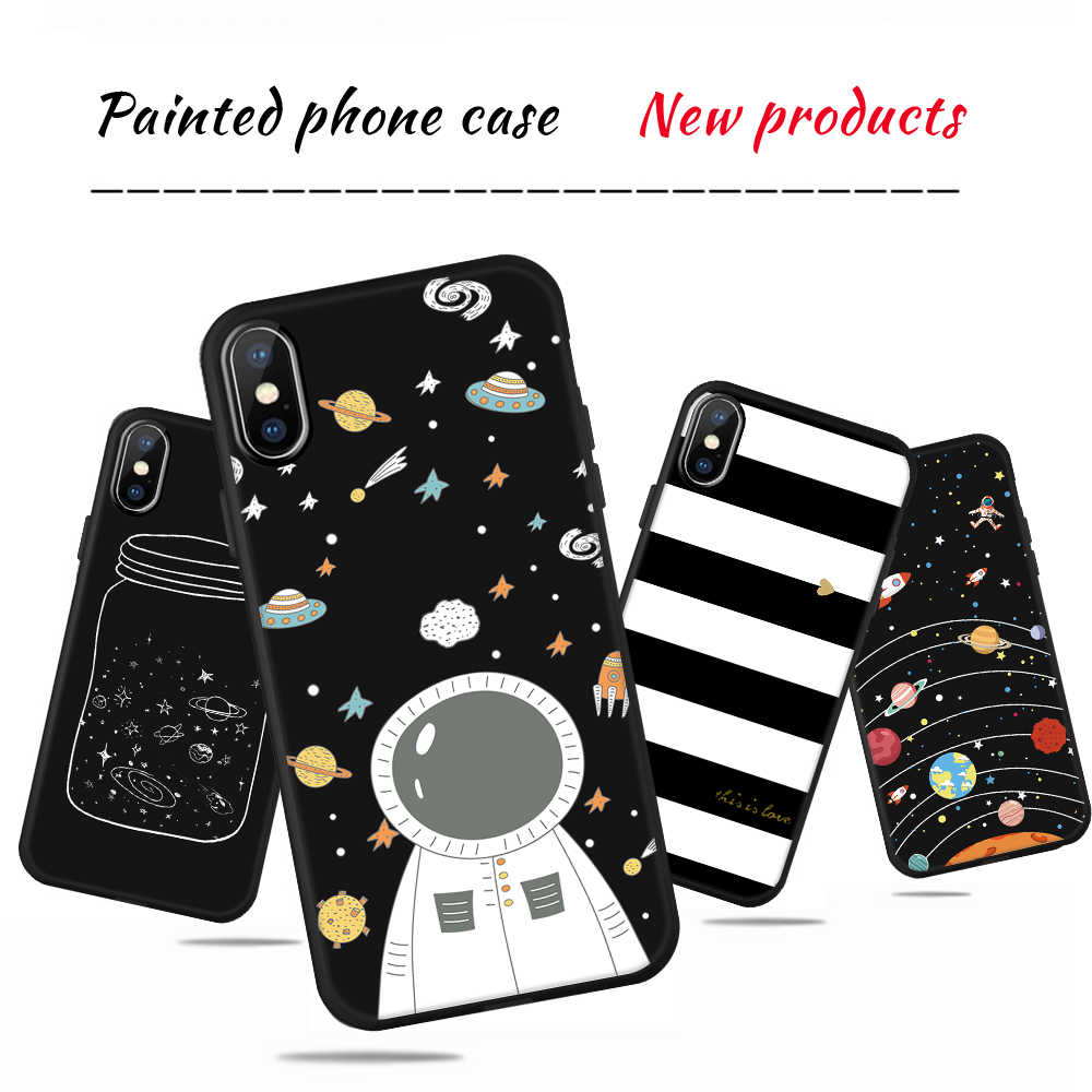 GerTong Phone Case For iPhone 6 6s 7 8 Plus 5 5s SE X Cover Fashion Cute Cartoon Planet Plant Soft TPU Black Capa For iPhone 7