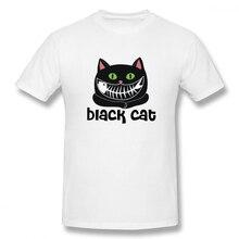 Black Cat Casual O-Neck Mens Basic Short Sleeve T-Shirt 100% Cotton Tee Shirt Printed