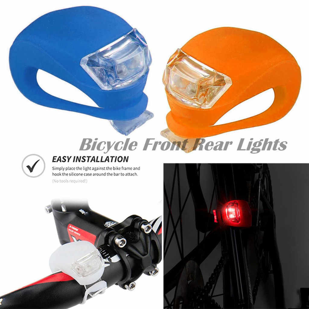 2 Pair Bike Lights Front Rear LED Red or Blue Universal MTB Silicone