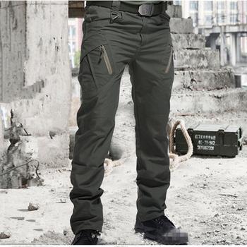 Nowe taktyczne spodnie wojskowe męskie SWAT bojowe spodnie wojskowe męskie wiele kieszeni zewnętrzne wodoodporne odporne na zużycie dorywczo spodnie Cargo Tactical Pants tanie i dobre opinie Cargo pants Mieszkanie Poliester COTTON Kieszenie REGULAR 30 - 41 3 Pełnej długości Military Midweight JERSEY Zipper fly