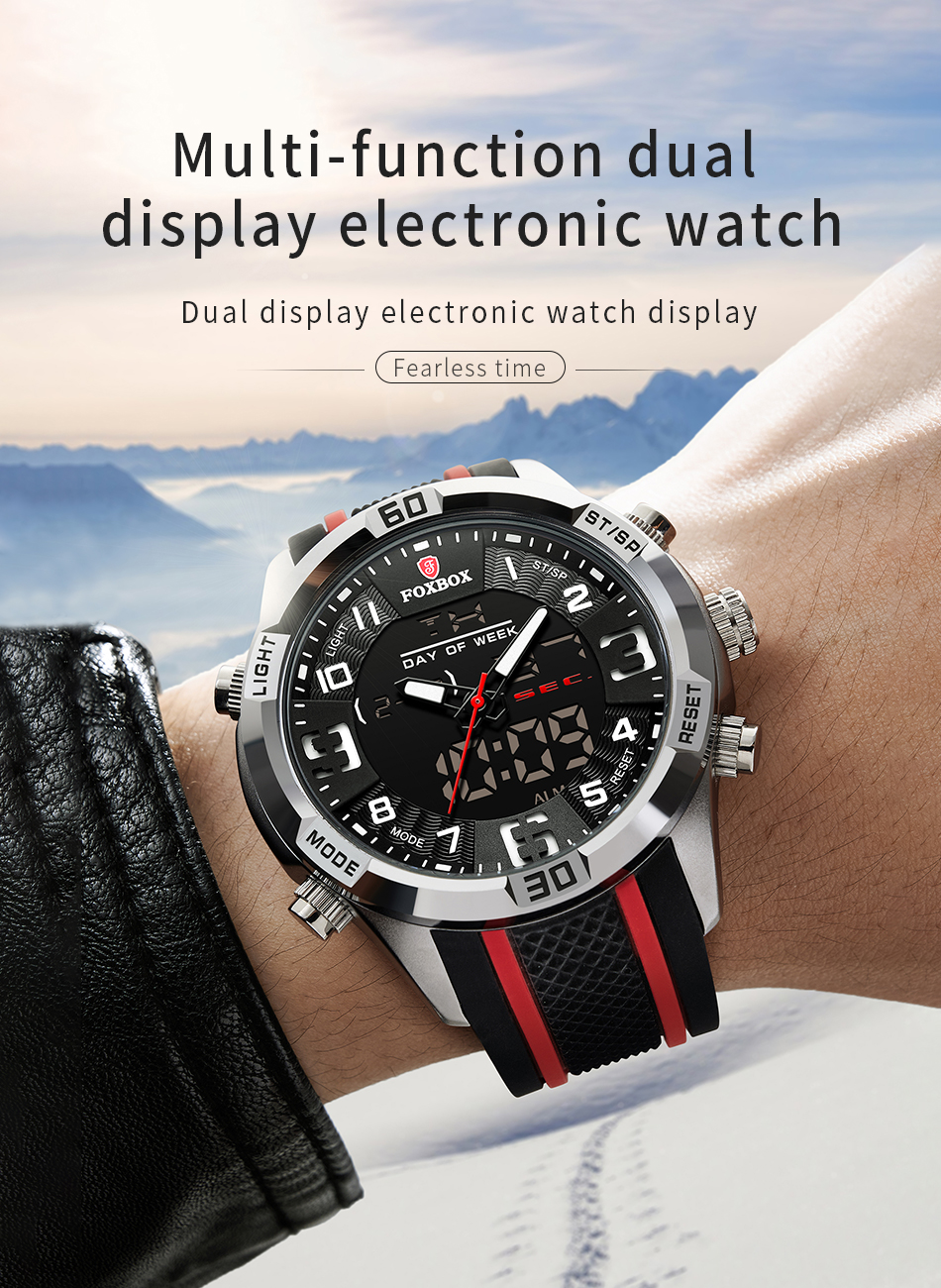 Ha76f03aa5b9e48819a9d20bbf5797c0c5 Watch For Men FOXBOX Top Brand Luxury Dual Display
