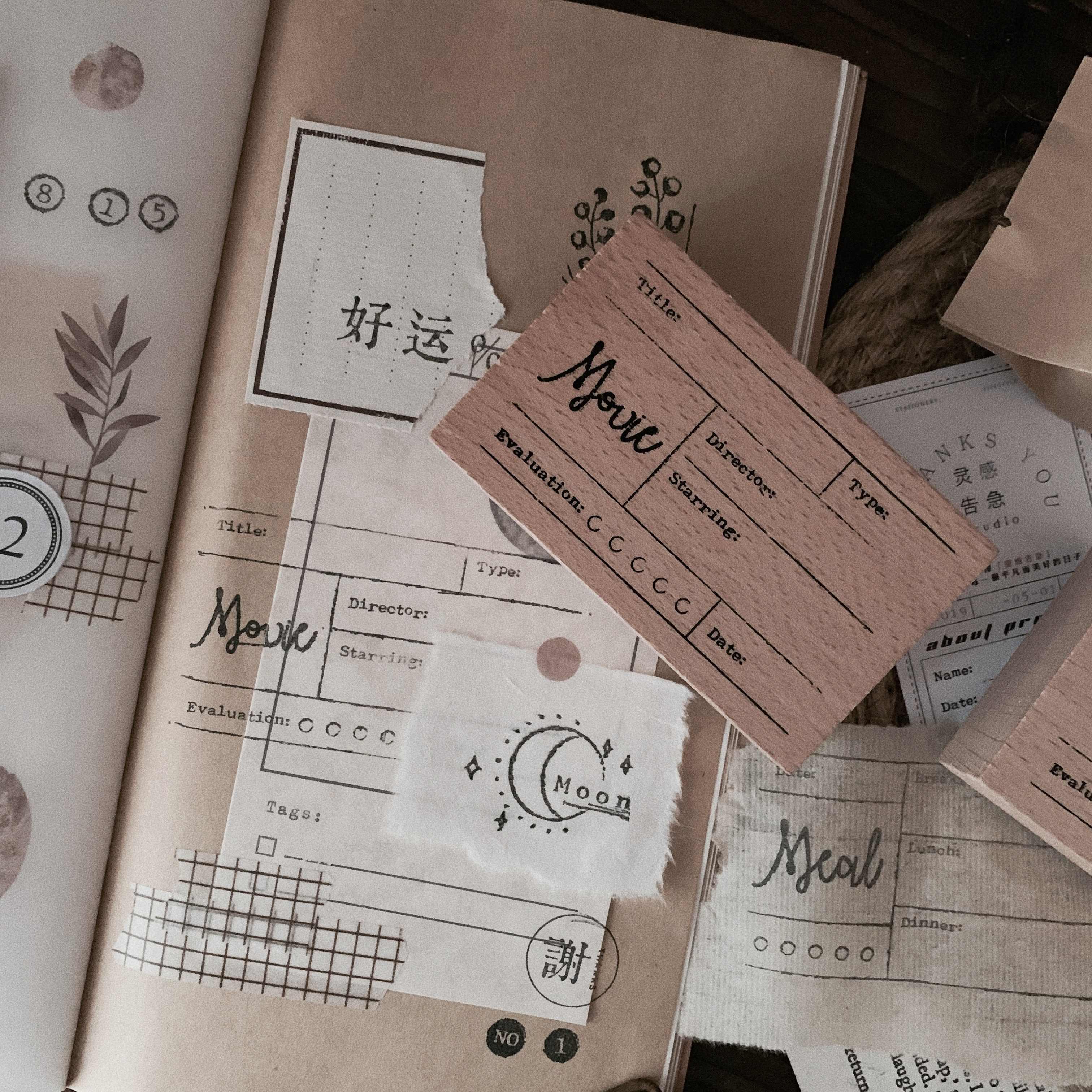 Vintage Meal หนังสือบันทึกภาพยนตร์แสตมป์ DIY ไม้แสตมป์ยางสำหรับ Scrapbooking เครื่องเขียน Scrapbooking แสตมป์มาตรฐาน