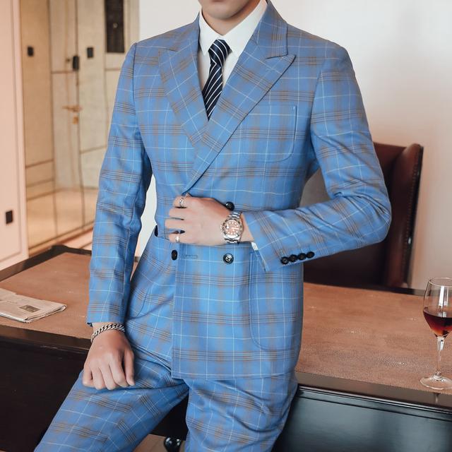 ( Jacket + Vest + Pants ) Luxury High-end Fashion Plaid Men's Business Casual Blue Suit 3 Piece Set Groom Wedding Dress Tuxedo