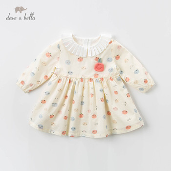DBZ13334 dave bella spring baby girl's princess smile print dress children fashion party dress kids infant lolita clothes image