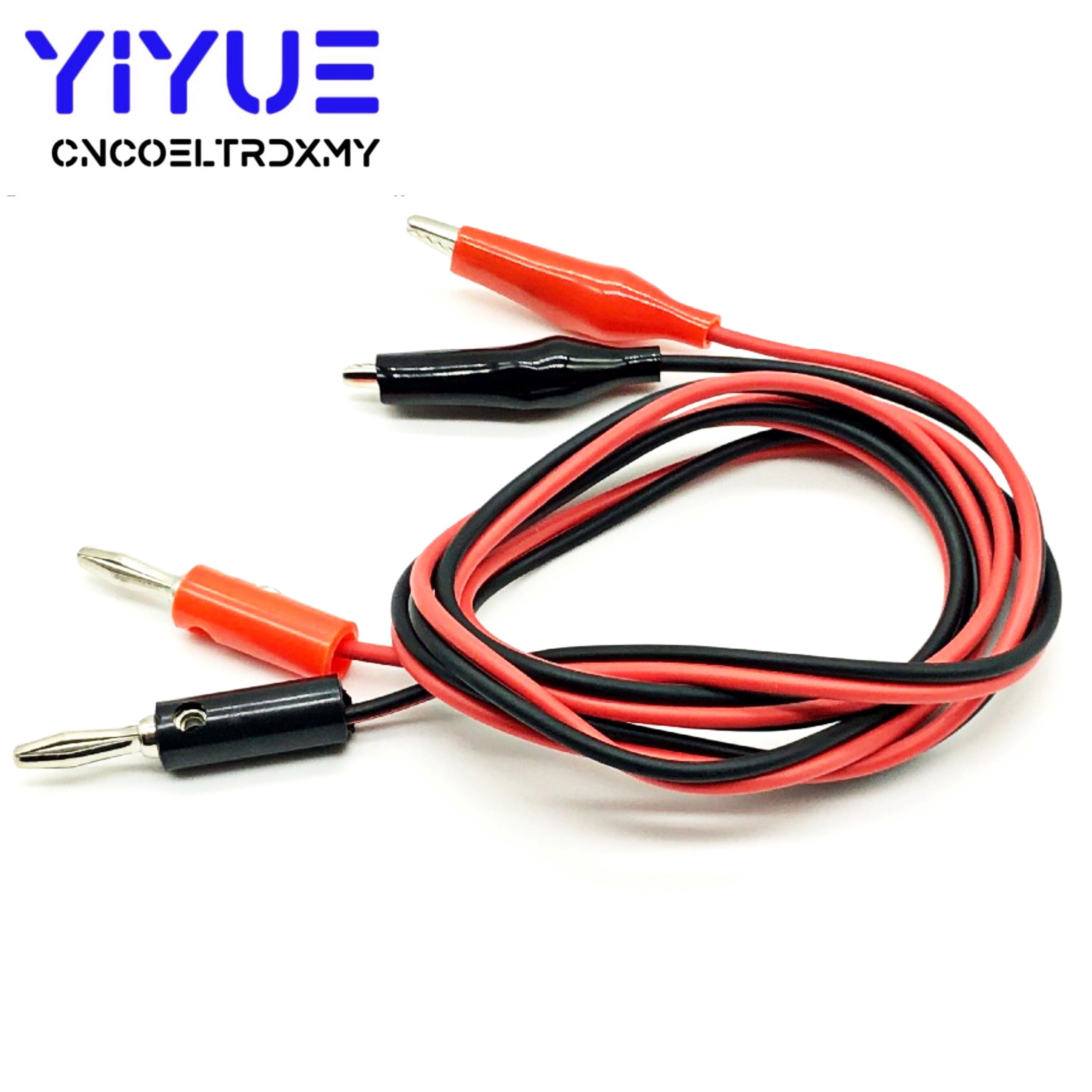 1 Pair Alligator Test Lead Clip To AV Banana Plug Connector TO Dual Tester Alligator Clip Probe Cable 1M Red+Black