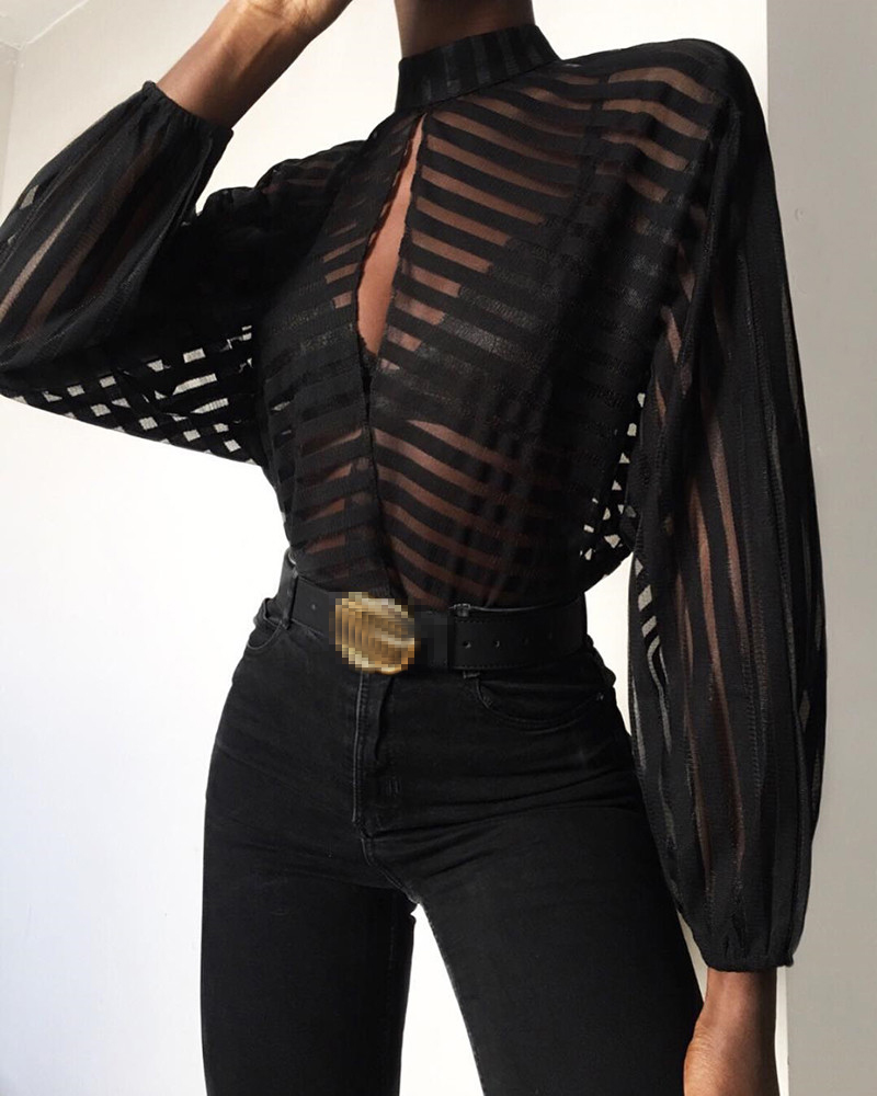 Meihuida Women Sexy See-through Mesh Net Sheer Long Sleeve Blouse Front Hollow Sexy Tops Office Lady Elegant Wear