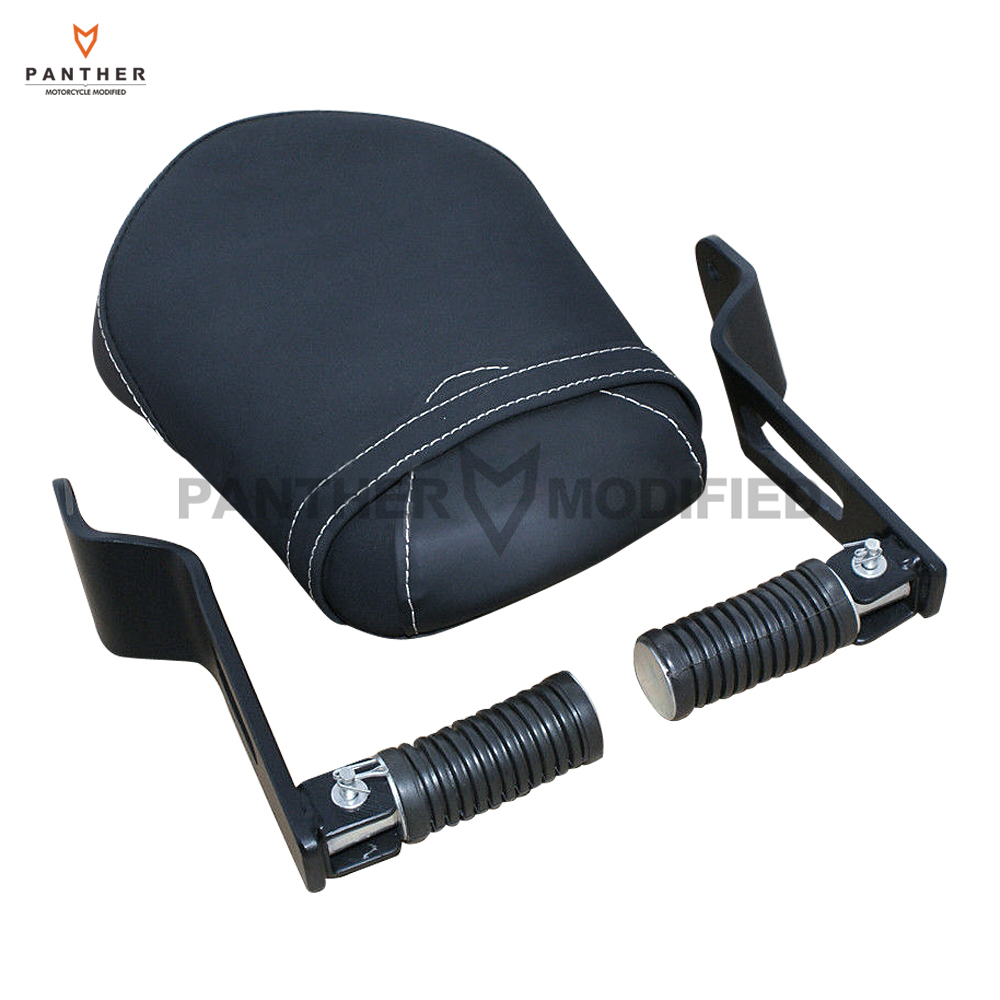 Motorcycle Synthetic Leather Passenger Rear Seat Moto Foot Rest Footpeg Kit case for <font><b>Yamaha</b></font> <font><b>XVS</b></font> <font><b>950</b></font> 2014 2015 2016 image
