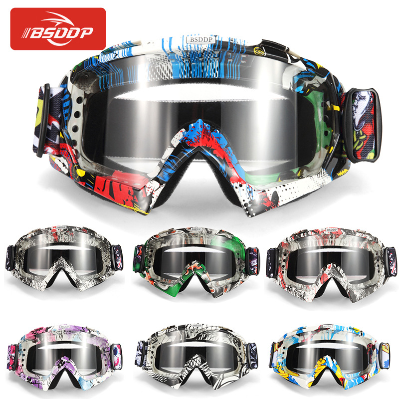 2019 Motorcycle Goggles Ski Glasses Motocross Goggles Eyewear Snowboard Glasses Moto Motorbike Dirt Bike Colorful Lens