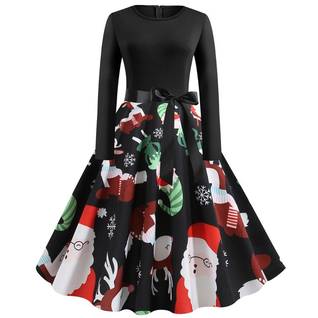 Fashion Christmas Dress Women Long Sleeve Christmas Musical Notes Print Vintage Flare Dress Robe Pull Femme Party Dress B