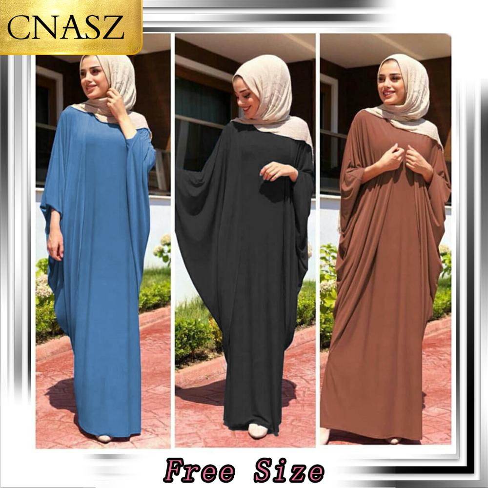 2019 New Arrival  Muslim Abaya Dubai  Islamic Clothing Casual Loose Bat Sleeve Turkey Middle Eastern Kimono Hijab Dress