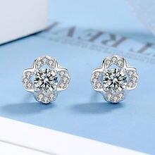 Бриллиантовые серьги в форме клевера женские модные простые