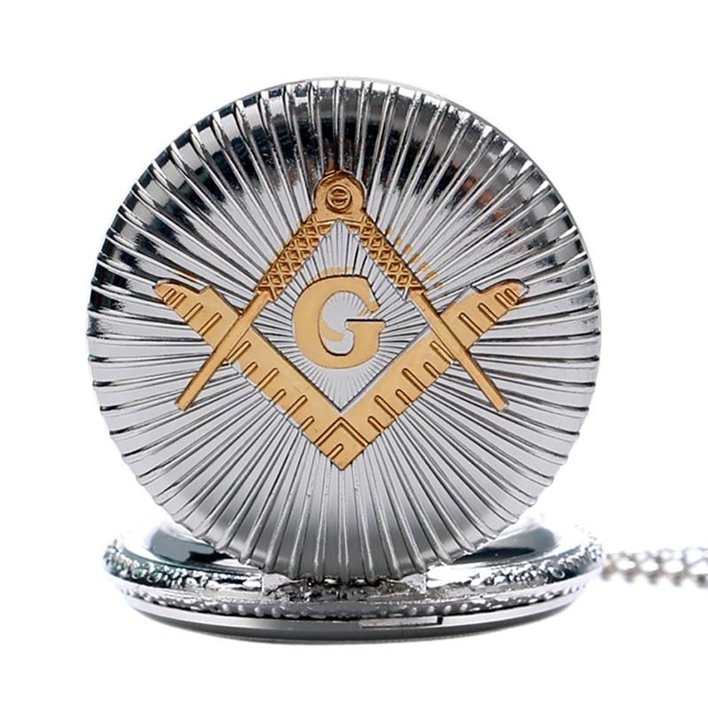 Men's Luxury Silver Masonic Quartz Pocket Watch Chain Freemasonry Mason Necklace Pendant Watches Fashion Best Gift For Men Women