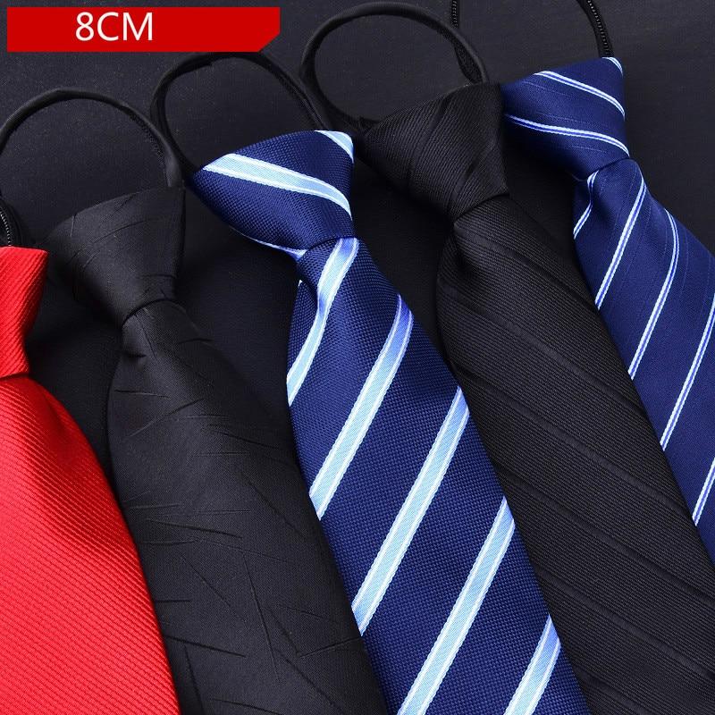Men's Zip-up Tie 8cm Aadjustable Dressed Business Groom Wedding  Stripe For Man Gift