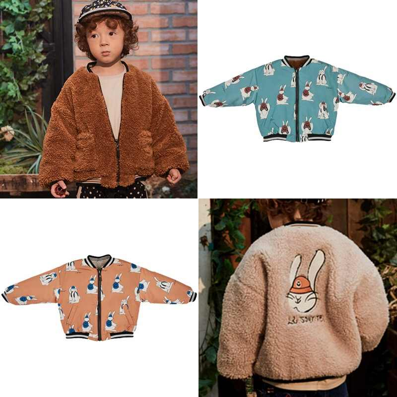 19 autumn and winter new boys and girls small children's jacket short paragraph rabbit two wear cotton jacket1