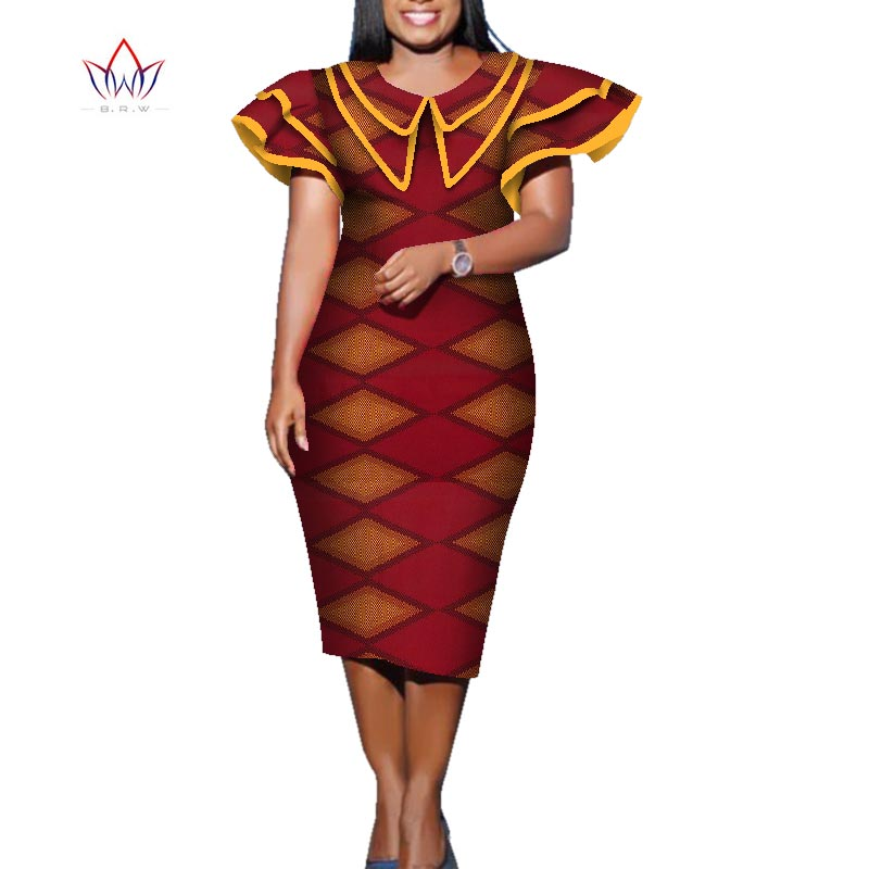 2020 Summer African Dress For Women Africa Bazin Riche Print Elegant Mid-Calf Lady Dress Plus Size Women Midi Dress WY5708