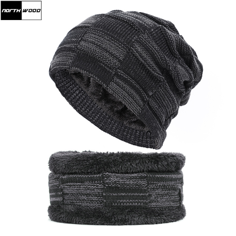 [NORTHWOOD] New Fashion Winter Beanie Hats For Men Women Warm Neck Scarf Cap Plus Velvet Knitted Hat Ski Hat For Adult