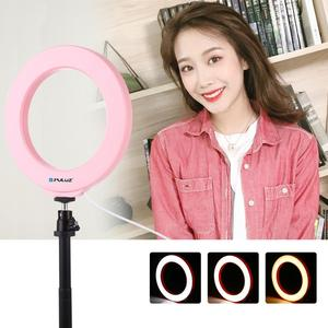 Image 4 - PULUZ 4.7 inch 12cm USB 3 Modes Dimmable LED Ring Vlogging Photography Video Lights with Cold Shoe Tripod Ball Head Selfie Light
