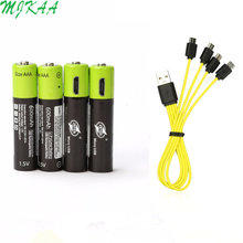 ZNTER 4Pcs 1.5V AAA Rechargeable Battery 600mAh USB Rechargeable Lithium Polymer Battery Quick Charging by Micro USB Cable(China)