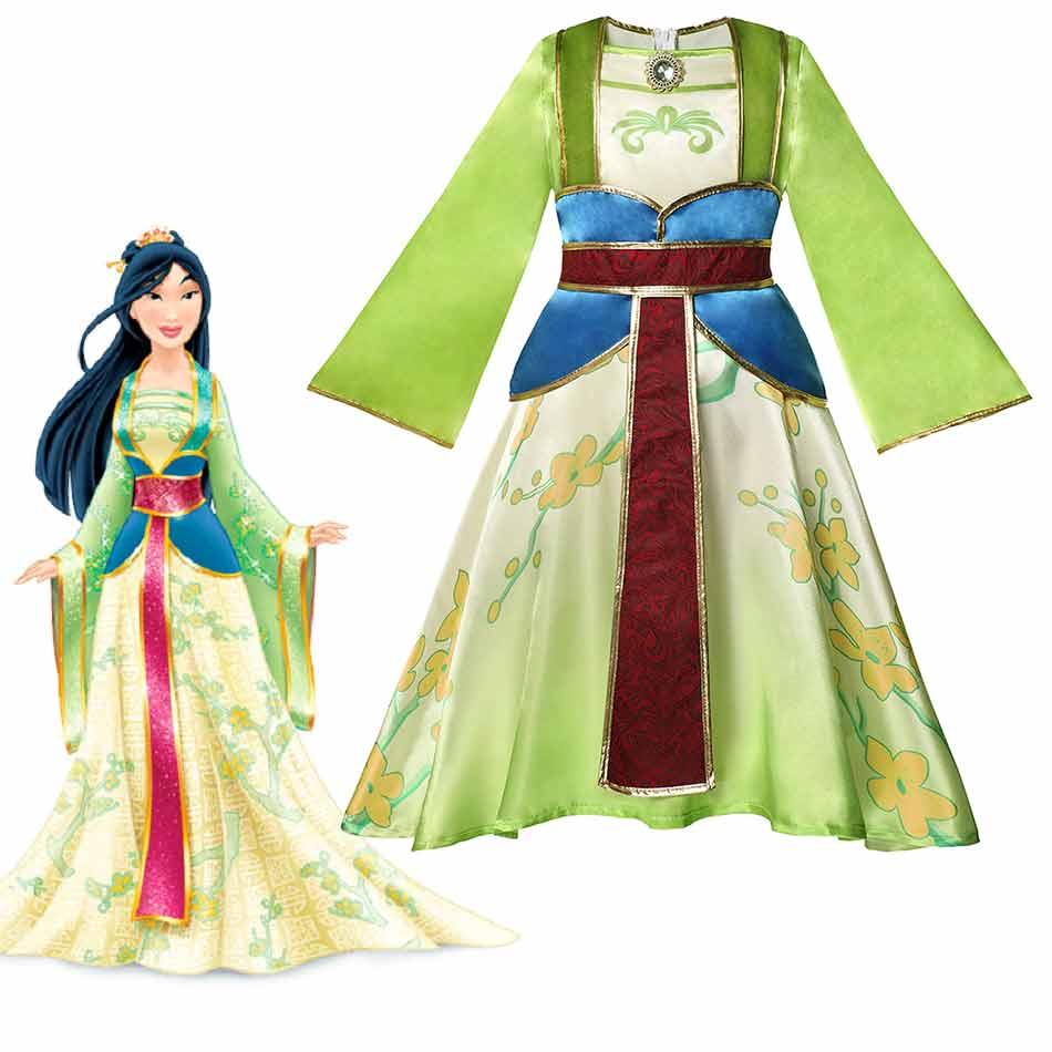 Disney princesa Mulan traje para niñas de la antigua dinastía China dama vestido de los niños Cosplay Mulan disfraz princesa ropa de fiesta