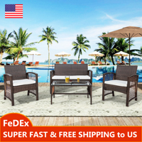 4 Pieces Outdoor Furniture Rattan Chair & Table Patio Set Outdoor Wicker Sofa for Garden Backyard Porch and Poolside Brown