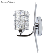 feimefeiyou e27 Crystal Wall Lamp Wall Light Sconces Lighting Fixture,Pull Chain Switch-Include 3W Bulb