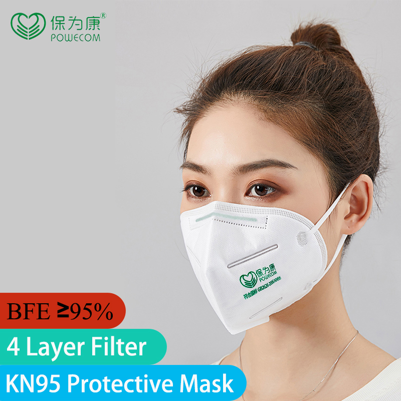 10Pcs/Pack POWECOM 4 Layer Filter KN95 Mouth Mask Non-disposable Reusable Respirator Masks Face Mouth Mask Protective Face Masks