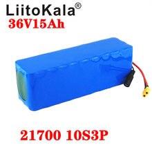 Bateria liitokala de 36v 15ah, bateria de 21700 5000mah 10s3p 500w alta potência 42v 15000mah ebike bicicleta elétrica bms xt60