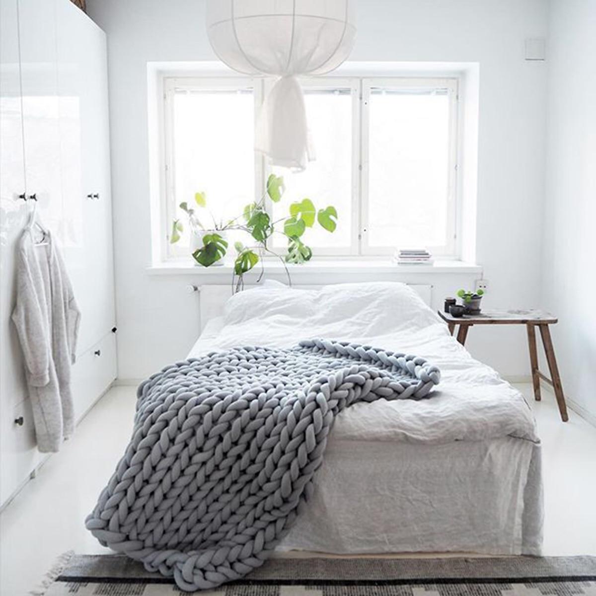 120x150 см вязаное одеяло для дивана ручной работы, мягкое теплое толстое Хлопковое одеяло, зимнее элегантное уютное теплое постельное белье - 3