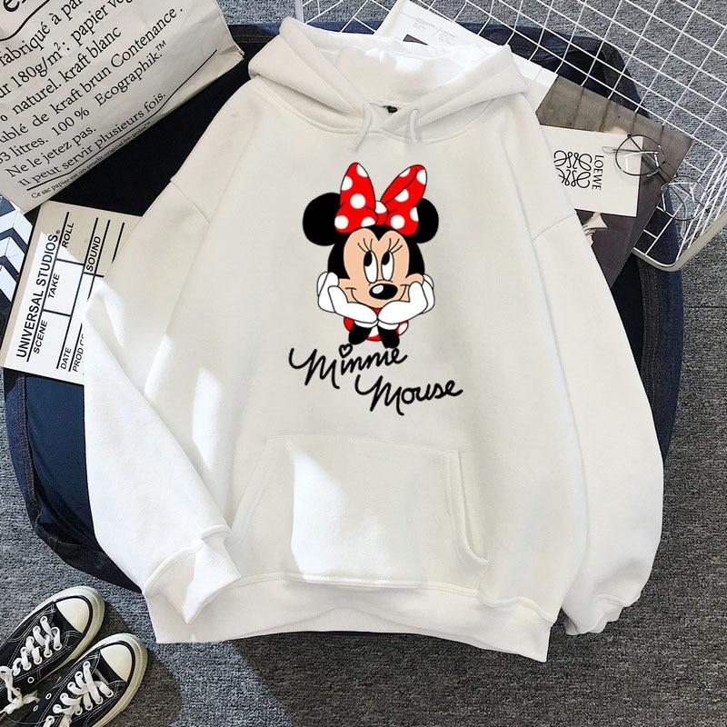 Disney Women Hoodies Minnie Mickey Mouse Hoodies Cartoon Tops Long Sleeve Pockets Sweatshirts Fashion Hooded Women 15