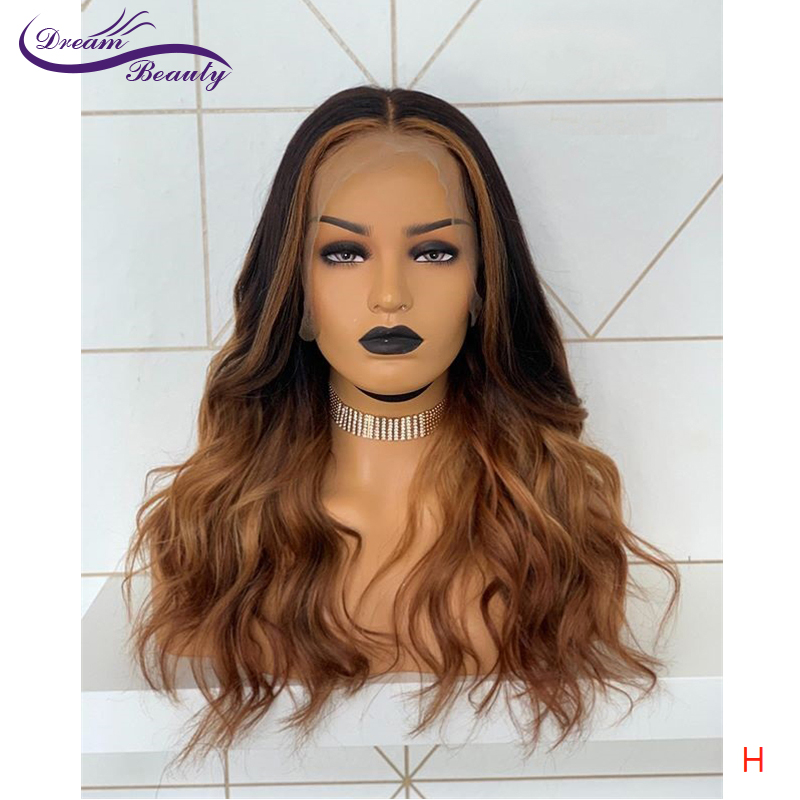 Dream Beauty Ombre Colored Lace Front Human Hair Wigs 13x4 Loose Deep Preplucked Glueless Brazilain Remy Hair High Radio