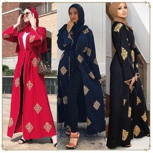 Image 1 - ดูไบ Arab เปิด Abaya มุสลิม Hijab ผู้หญิง Kimono LACE up Kaftan Abayas เสื้อผ้าอิสลาม Caftan Musulman Marocain ยาว robe