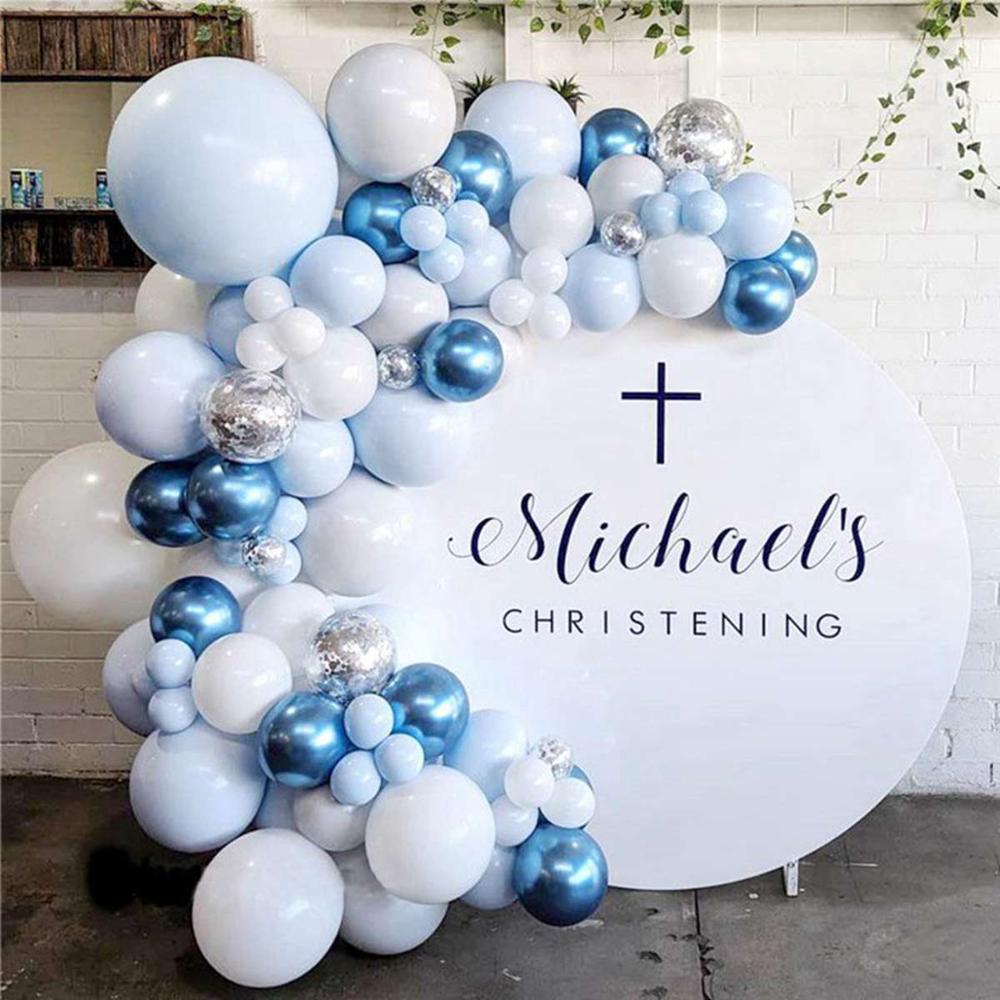104 pçs metal prata balão arco um ano balão chuveiro do bebê menino menina baloon festa de aniversário ballon decoração da festa de aniversário crianças