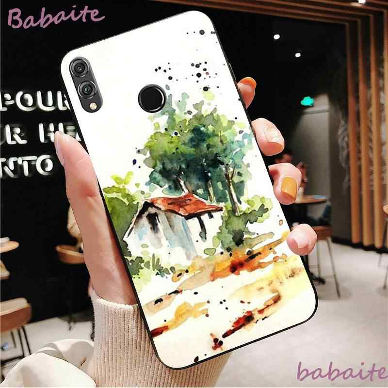Babaite החדש יער ושמש צבעי מים עצי DIY טלפון מקרה עבור HuaweiY9 2018 HONOR 8 8X 9 9 לייט צפה 9 10 honor 10 20 לייט