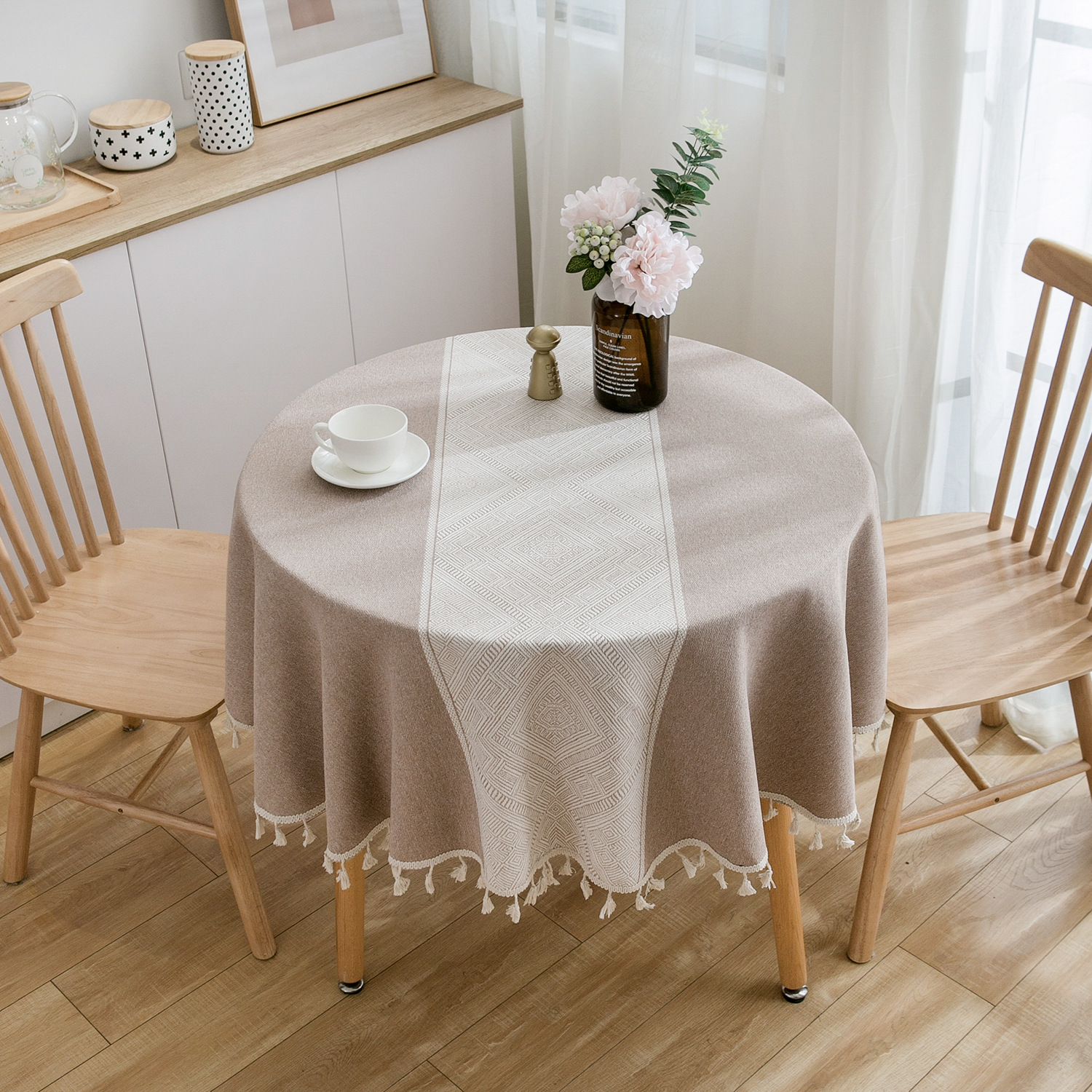 Lace Round Tablecloth Cotton Linen Tassel table cover Bohemian white table cloth for party Obrus Tafelkleed Mantel Mesa Nappe