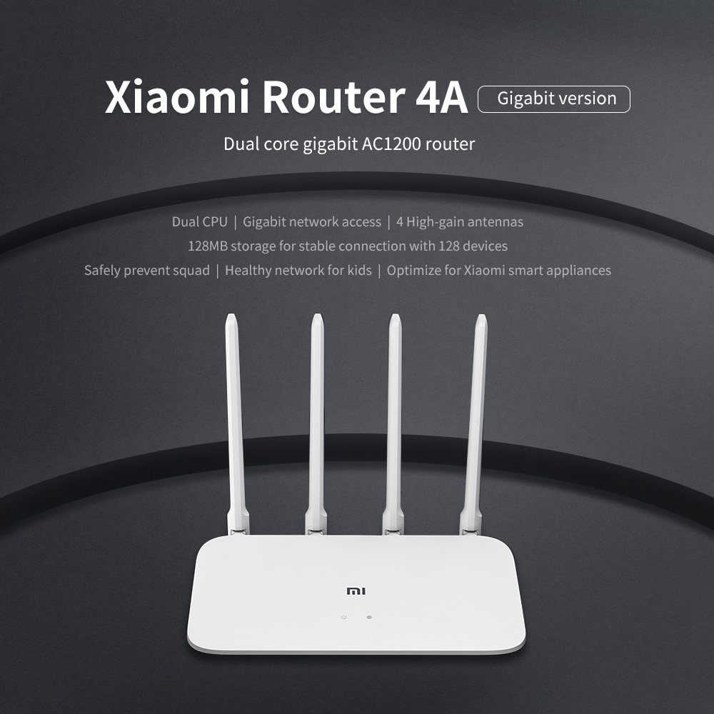 Xiaomi Router 4A Gigabit รุ่น 2.4GHz 5GHz WIFI Router Dual Band 1167Mbps WIFI Repeater 4 เสาอากาศ 128 MB/4C 64MB 300Mbps title=
