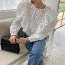Модные Винтажные свободные белые блузки женские весенне осенние