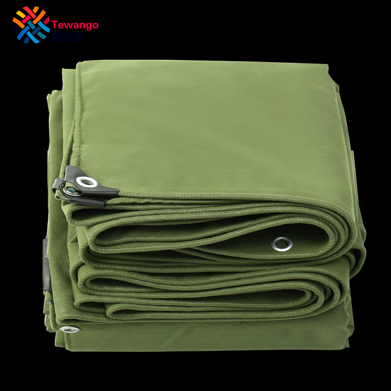 Tewango Army Green Tarpaulin Sunshade Shelter Heavy Duty Canvas 550GSM Canopy Truck Cover UV Screen Rain Tarp 100% Waterproof