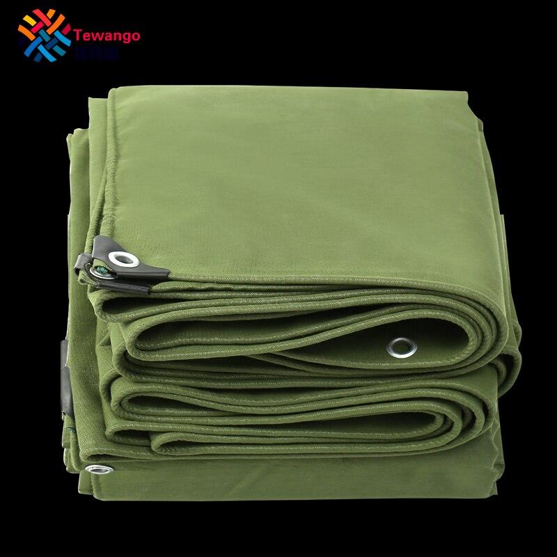 Tewango Army Green Tarpaulin Sunshade Shelter Heavy Duty Canvas 550GSM Canopy Truck Cover UV Screen Rain Tarp 100% Waterproof