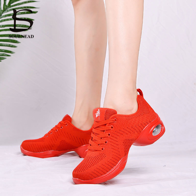 Mesh Jazz Shoes Woman Modern Dance Soft Outsole Dance Sneakers Women Girls Breathable Lightweight Dancing Fitness Shoes EU35-41
