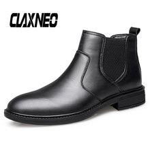 Buy CLAXNEO Man Chelsea Boots Genuine Leather Male Boot Slip on Men Shoes Dress Leather Shoe Handmade directly from merchant!