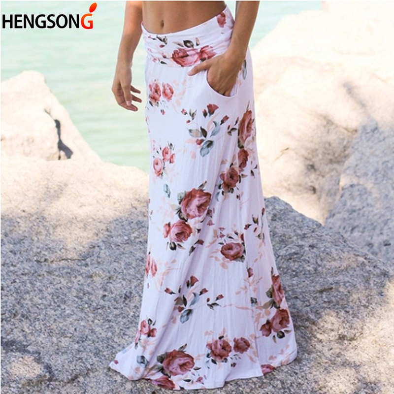 Boho Women Pocket Casual Beach Long Skirt Flower Printed Maxi Skirts Elastic Waist Faldas Saia Drop Shipping
