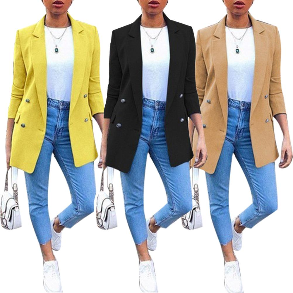 2020 Women Blazer Casual Long Sleeve Blazers Open Front Office Lady Suit Jacket OL Lapel Coat Cardigan Blazers Formal Blazers