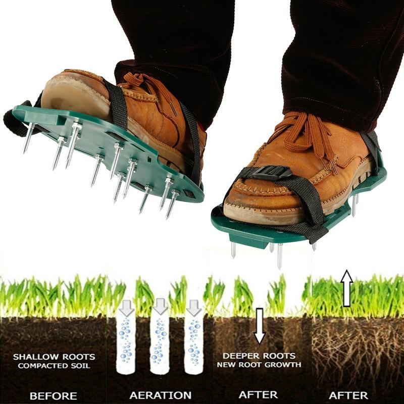 1 Pair Lawn Aerator Shoes Garden Yard Grass Cultivator Scarification Garden Manual Aerators Tools Nail Shoes Scarifier Grassland