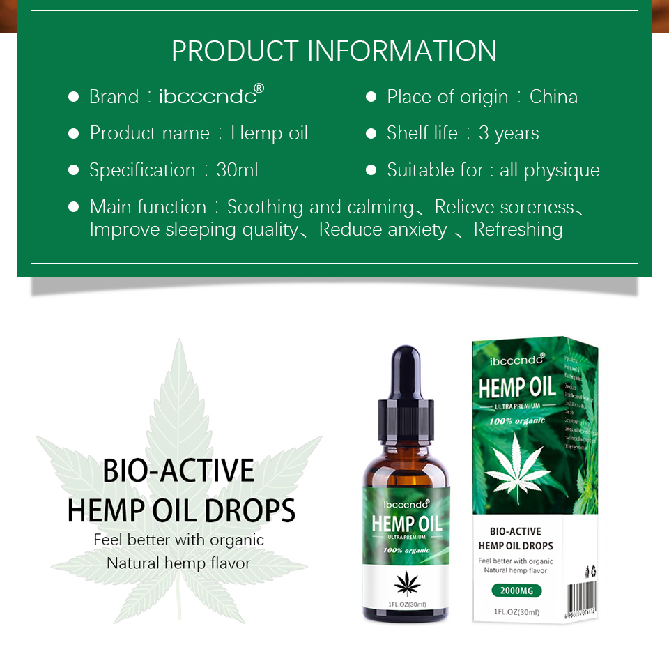30ml 100% Organic Hemp CBD Oil 2000mg Bio-active Hemp Seeds Oil Extract