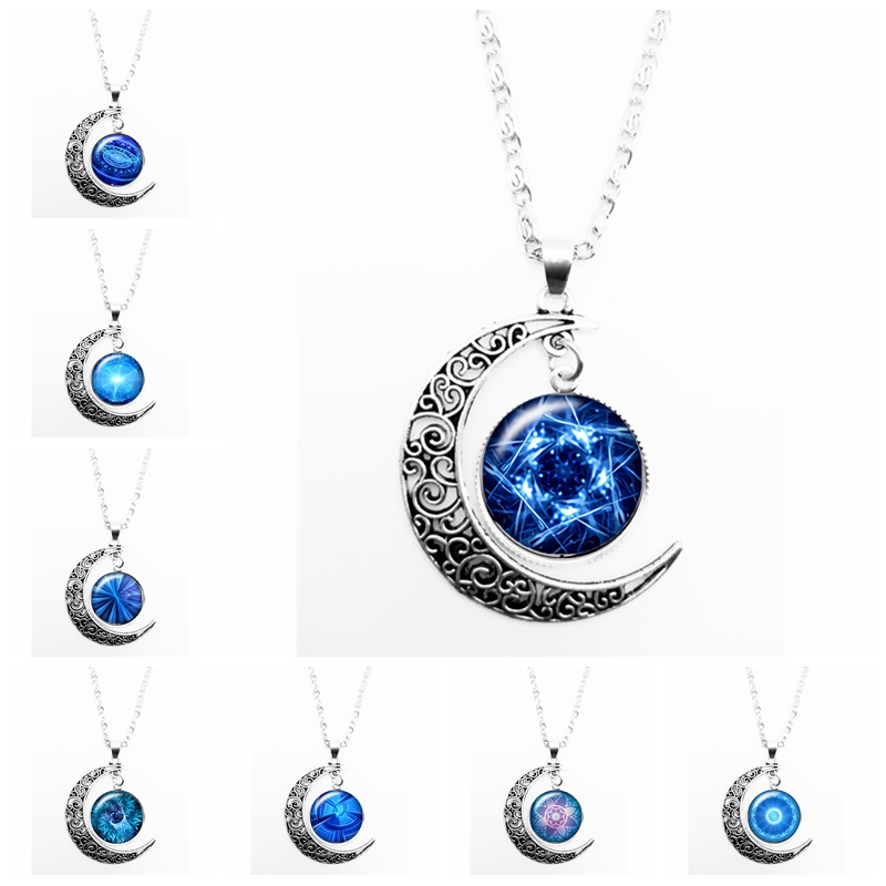 HOT 2019 New Cool Ocean Kaleidoscope Pattern Series Glass Convex Fashion Ladies Pendant Necklace Jewelry Gift in Pendant Necklaces from Jewelry Accessories